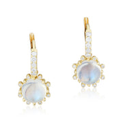 18K Yellow Gold Diamond and Moonstone Drop Earrings