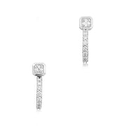 18K White Gold Asscher Cut and Round Diamond Detachable Earcuffs