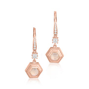 18K Rose Gold Moonstone and Diamond Hexagon Drop Earrings