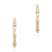 18K Yellow Gold Round And Square Diamond Hoop Earrings