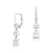 18K White Gold Baguette and Round Diamond Drop Earrings