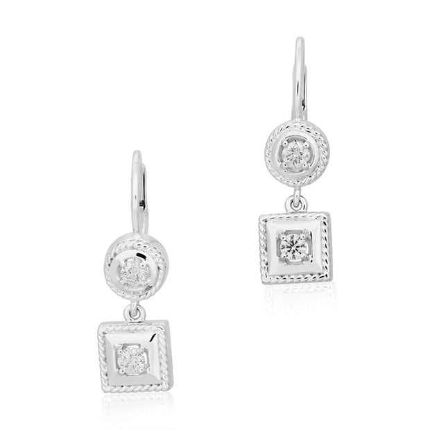 18K White Gold Diamond Drop Earrings.