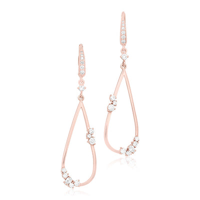 18K Rose Gold Tear Drop Cluster Diamond Earrings