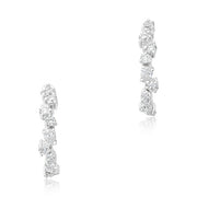 18K White Gold Cluster Diamond Hoop Earrings