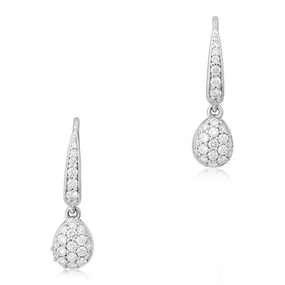 18K White Gold Pear Drop Diamond Earrings