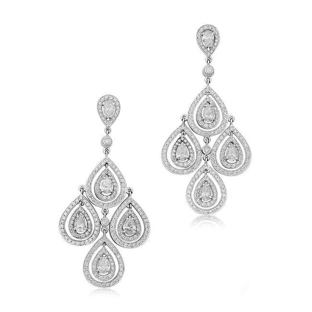 18K White Gold and Pear Shaped Diamond Chandelier Earrings