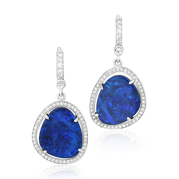 18K White Gold Drop Opal and Diamond Drop Earrings