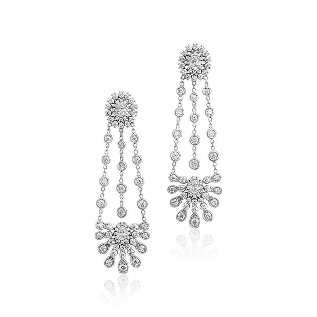18K White Gold and Diamond Amulet Lace Chandelier Earrings