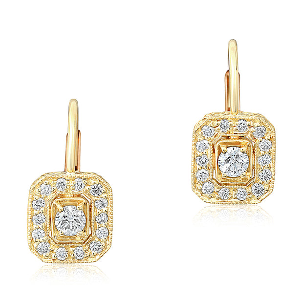 18K Yellow Gold Emerald Shaped Diamond Drop Earrings