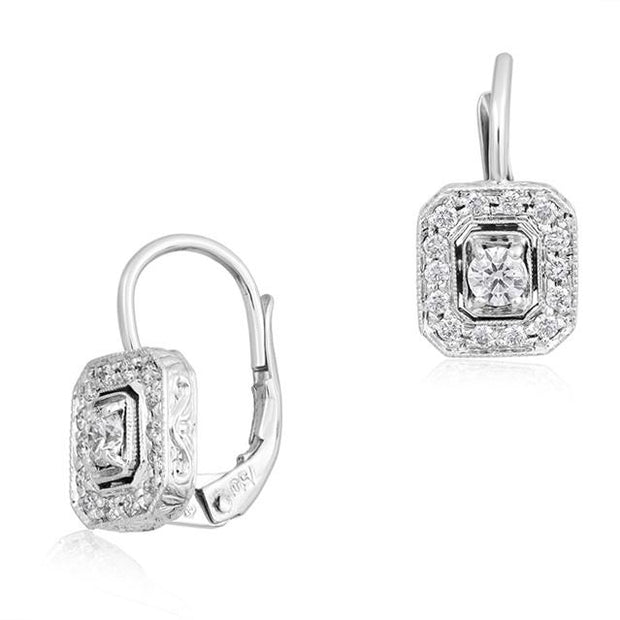 18K White Gold Emerald Shaped Station Diamond Earrings