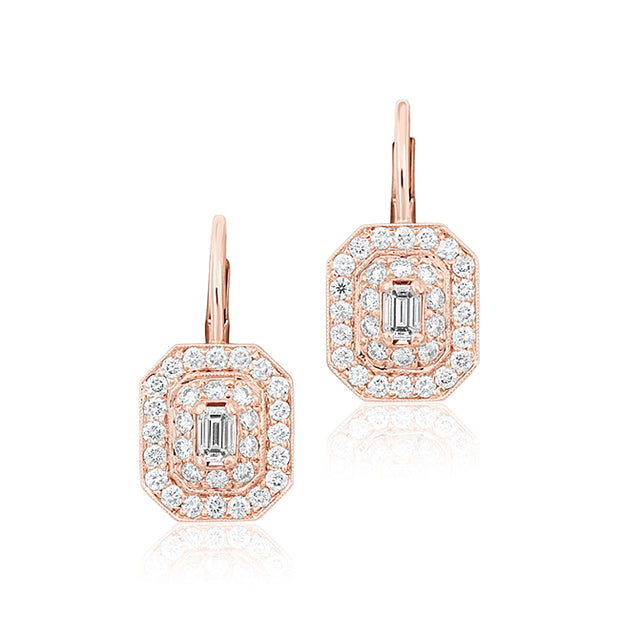 18K Rose Gold Emerald Cut Art Deco Diamond Drop Earrings