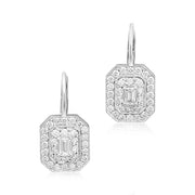 18K White Gold Emerald Cut Diamond Double Halo Earrings