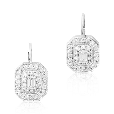 18K White Gold Emerald Shaped Art Deco Diamond Earrings