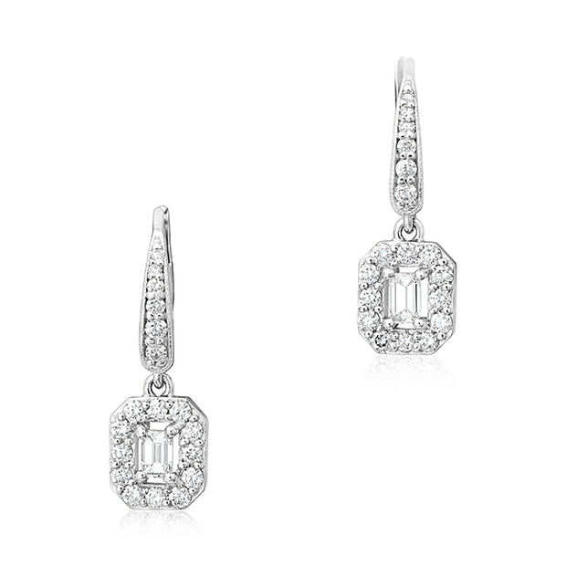 18K White Gold Emerald Haldo Diamond Drop Earrings