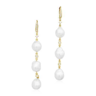 18K White Gold Triple Drop Pearl and Diamond Earrings
