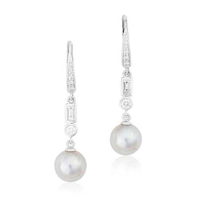 18K White Gold Diamond and Pearl Drop Earrings