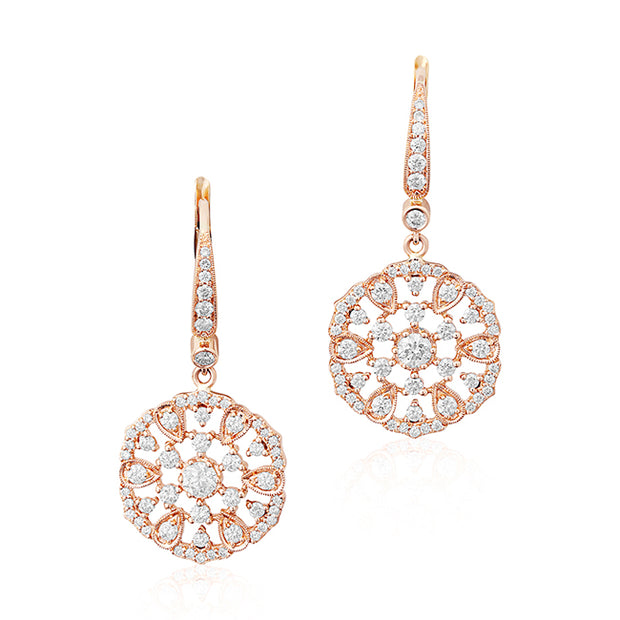 Garland Collection Rose Gold and Diamond Earrings
