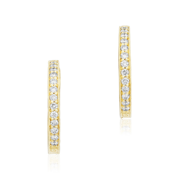 18K Yellow Gold Hand Engraved Diamond Petite Hoop Earrings