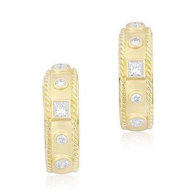 18K Yellow Gold Round and Princess Diamond Hoop Earrings