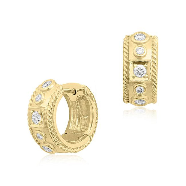 18K Yellow Gold Diamond Huggie Earrings