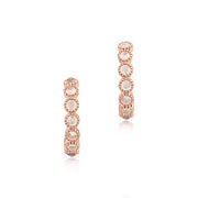 18K Rose Gold Round Moonstone Hoop Earrings With Milgrain Detail