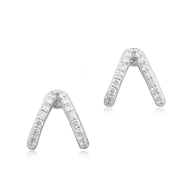 18K White Gold Split Ear Cuffs With Round Diamonds