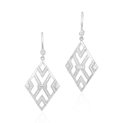 18K White Gold Round and Baguette Diamond Deco Drop Earrings