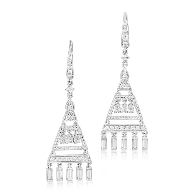 Three Tier Diamond Earrings