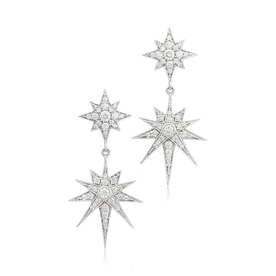 18K White Gold Double Starburst Drop Earrings With Diamonds