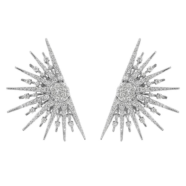 18K White Gold and Diamond Starburst Earrings