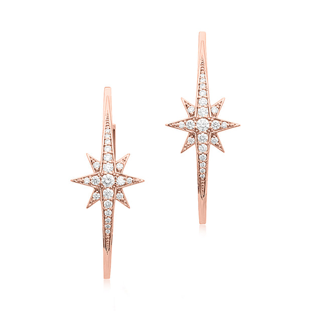 18K Rose Gold Starburst Diamond Hoop Earrings