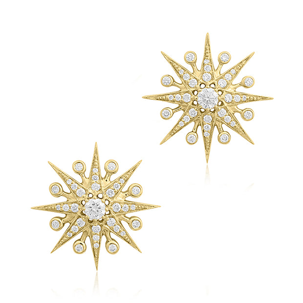 18K Yellow Gold Diamond Starburst Stud Earrings