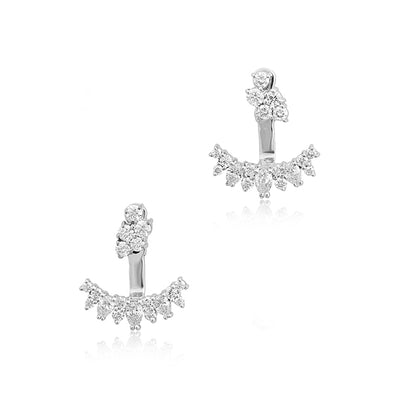 18K White Gold Stardust Diamond Ear Jackets