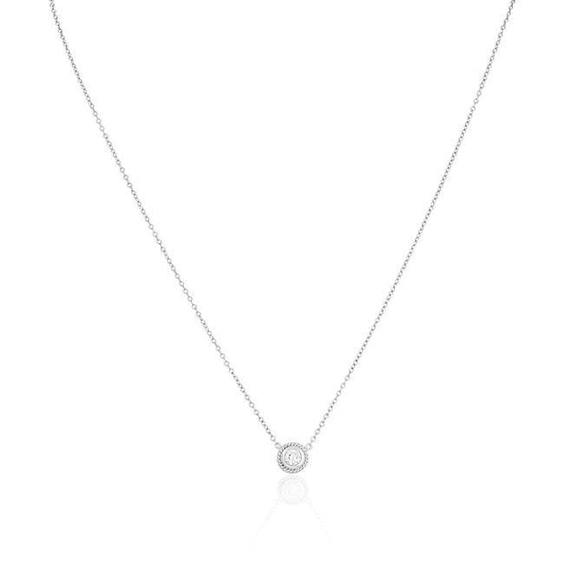 18K White Gold Bezel Set Round Diamond Necklace - TIVOL