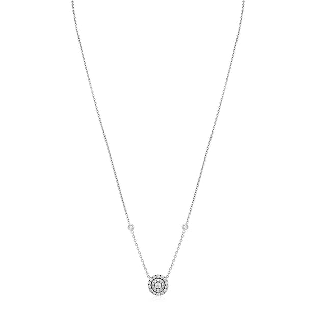 18K White Gold Double Halo Round Diamond Necklace