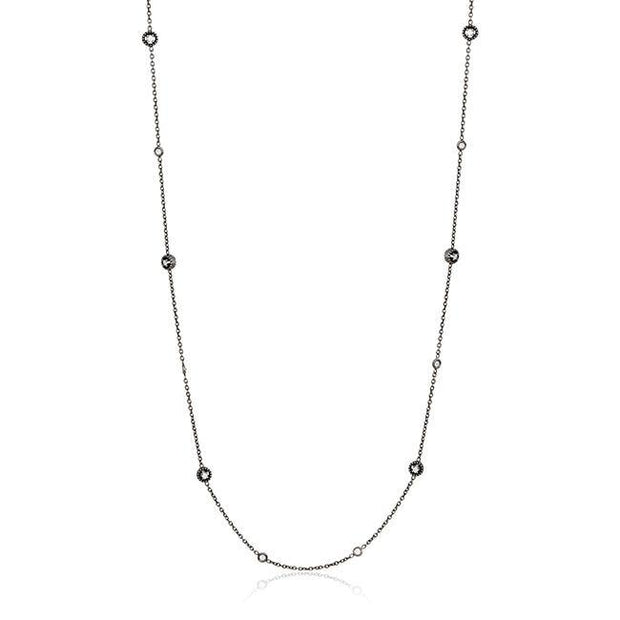 "18K Blackened White Gold Journey Collection 34"" Diamond Chain Necklace"