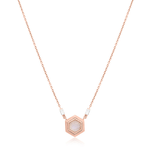 18K Rose Gold Hexagon Rainbow Moonstone Pendant With Baguette Diamonds