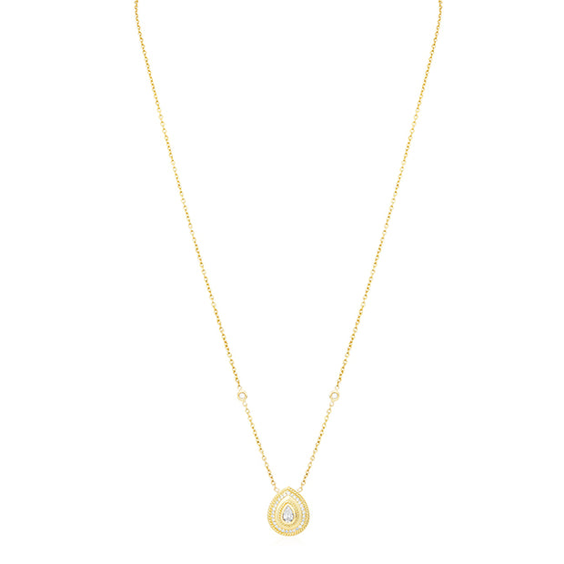 18K Yellow Gold Pear Shaped Diamond Necklace