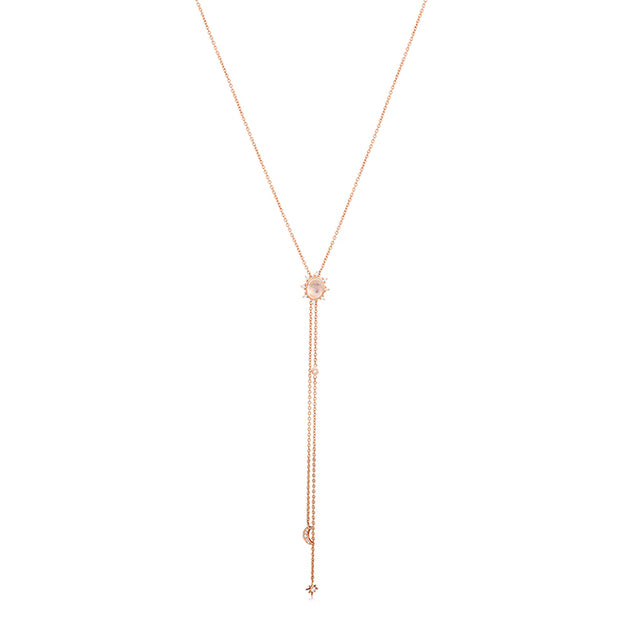18K Rose Gold Moonstone and Diamond Star And Moon Lariat Necklace