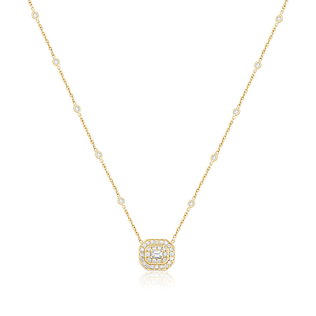 18K Yellow Gold Emerald Cut Art Deco Diamond Necklace