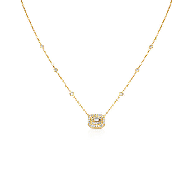 18K Yellow Gold Emerald Diamond Halo Necklace