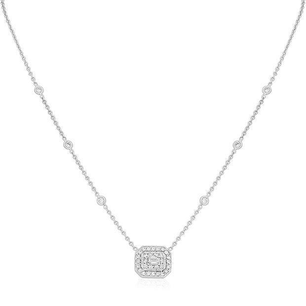 18K White Gold Emerald Cut Diamond Art Deco Necklace