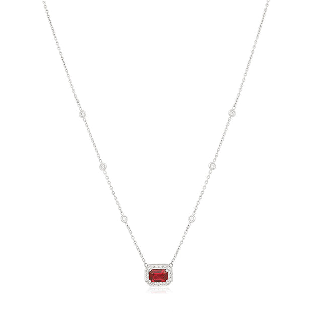 18K White Gold Ruby and Diamond Halo Necklace
