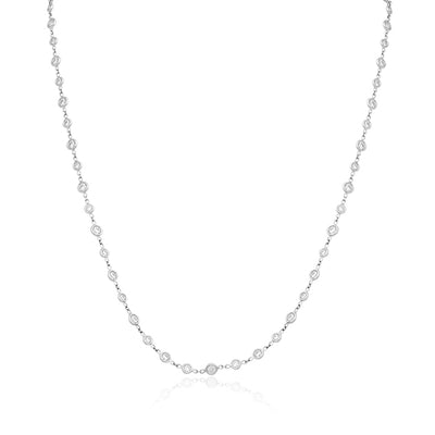 18K White Gold Round Diamond Eyeglass Necklace