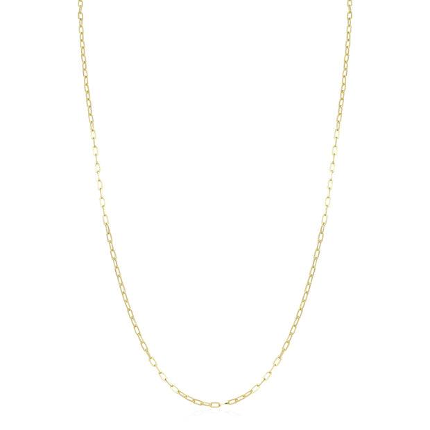 18K Yellow Gold Flat Link Chain Necklace