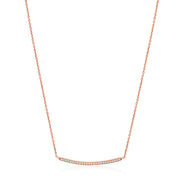 18K Rose Gold Thin Bar Diamond Necklace