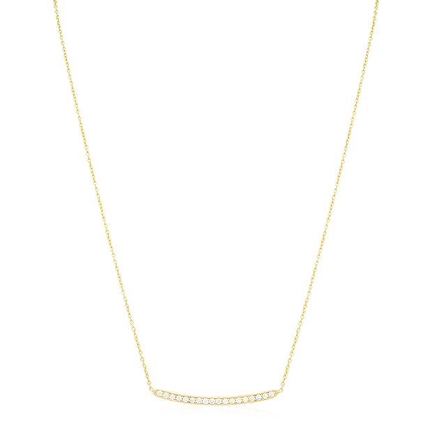 18K Yellow Gold Forever Bar Diamond Necklace