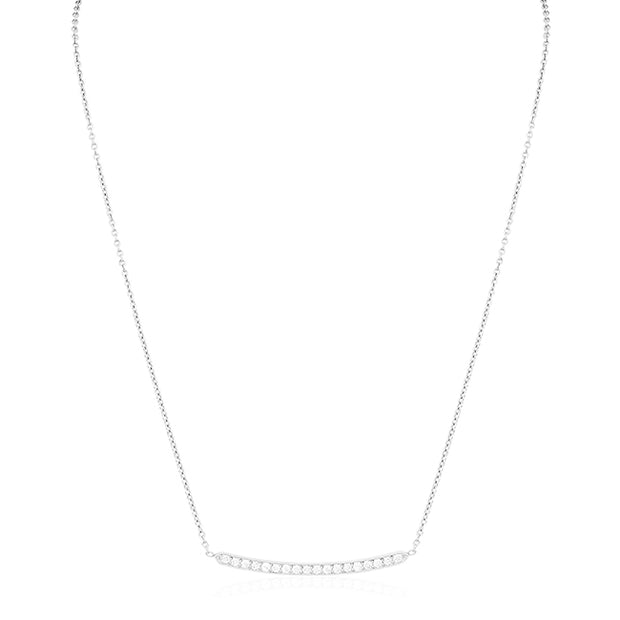 18K White Gold and Diamond Bar Necklace