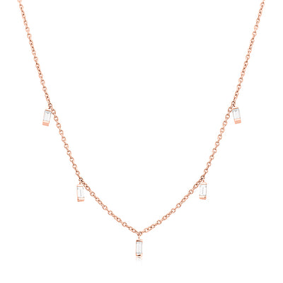 18K Rose Gold Baguette Moderne Collection Diamond Necklace