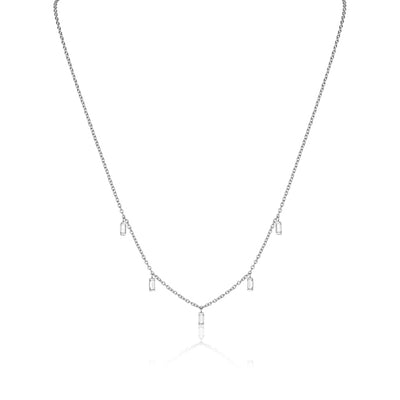 18K White Gold Dangling Baguette Diamond Necklace